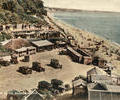 Cars and beach huts at Branksome Chine