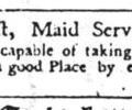 Advert for maid servant, 1756