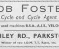 Advert for Bob Foster Cycles.