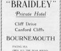 "Advert for "" Braidley"" Private Hotel."