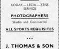Advert for J. Thompson & Sons Photographer.